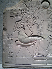 House Altar wih Akhenaten, Nefertiti and Three Daughters, detail with King (profzucker) Tags: family children ancient king egypt royal egyptian limestone sungod pharoah aten 18thdynasty nefertiti akhenaten amun monotheism polytheism newkingdom amarna housealtar museumberlin ägyptisches