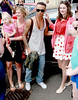 Aston Merrygold and fans Celebrities leaving their hotel after attending the wedding of Rochelle Wiseman and Marvin Humes which took place on Friday (July 27) at Blenheim Palace England -
