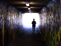Down a Dark Tunnel (Jason Gallant.) Tags: park light silhouette canon dark eos graffiti bright tunnel newbrighton 18200mm 60d