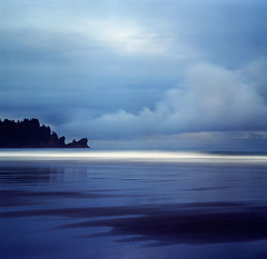 Turns out, there really is a place where day breaks (Zeb Andrews) Tags: ocean blue film beach square landscape dawn washington horizon olympicpeninsula line hasselblad pacificocean pacificnorthwest bluemooncamera