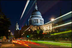 London - Light Trails at St. Paul's Cathedral (Yen Baet) Tags: city uk greatbritain trip travel sunset vacation england london church architecture londonbridge religious photography photo twilight ancient europe european cityscape view cathedral unitedkingdom britain dusk postcard religion scenic eu landmark icon tourists structure british bluehour olympics stpaulscathedral picturesque iconic cityoflondon london2012 britons diamondjubilee queenelizabethll yenbaet