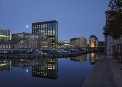 moon over Grand Canal Basin (Wendy:) Tags: grandcanalbasin moon july bluehour reflections tiltshift montevetro google