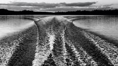 'Take the Long Way Home' (Canadapt) Tags: lake shoreline wake boat waves stern behind bw keefer canadapt supertramp rickdavies cousin