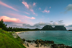 Sunset clouds at Lord Howe Is (NettyA) Tags: lordhoweforclimate australia lhi lordhoweisland mtgower mtlidgbird nsw sonya7r thelagoon unescoworldheritage beach clouds day2 landscape pink rocks sand sea seascape sunset water