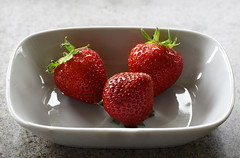 Three Strawberries (BBMaui) Tags: strawberry berry berries fruit plant food red bright macro manualfocus
