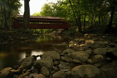 Tawawa Park (+Lonnie & Lou+) Tags: nature ohio travel river forest stream sony tennant a7r sidney trees park architecture bridge coveredbridge red sky sunset green longexposure nisi