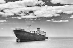 The Telamon wreck (mikeboss) Tags: telamon templehall shipwreck lanzarote coast blackandwhite ship