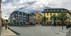 Town Square (Alexander Pugatschewski) Tags: ilmenau thuringia germany city street cityscape houses signs cyclist pedestrianpassage pavement province quiet tranquility travel urban square