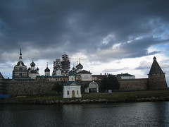 Solovetsky islands (VERUSHKA4) Tags: travel russia north russian landscape vue view island kremlin solovlki tower churc canon history water white sea tree architecture sky august summer shore europe roof cupolas coast religion solovetsky