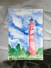 Der schiefe (Leucht-)Turm von Paldiski (wanda.w) Tags: colourful colours watercolour aquarelle aquarell tuletorn leuchtturm pakri paldiski estonia eesti