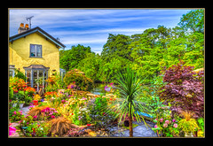 River Garden (Kevin, Thanks for over 3 Million Views) Tags: architecture canon1100d canon1855mm hdr kevinwalker llangollen wales waterways riverdee garden flowers trees sky clouds house