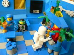 """Please excuse me... Actually, am I in time for last orders?"" (kosmonautikos) Tags: classic lego space bar astronaut cosmonaut blacktron drinking moc pub minifig minifigure"