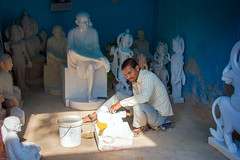 Sai Baba (Mathijs Buijs) Tags: sai baba holy religious statue statues hindu krishna vishnu white marble carver man indian jaipur rajasthan india canon eos 7d northern asia worker maker work shop workshop