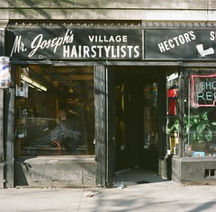 Mr. Joseph's (12th St David) Tags: windows signs newyork 120 6x6 film sign mediumformat shoes manhattan westvillage sidewalk barber storefronts stores hectors greenwichvillage 75mm mittelformat greenwichavenue rolleicordv fuji160s formatomedio mrjosephs  schneiderxenar75mmf35 lemoyenformat villagehairstylists