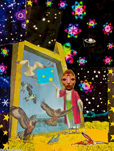 LARRY CARLSON, Door of Wings, collage on paper, 14x10in., 2012.
