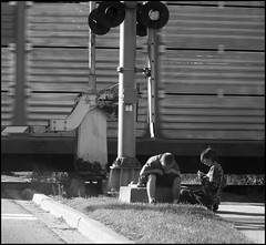Boys By The Tracks: Taken Out The Window With The Itty Bitty (Sue90ca Flick*r Is Flick*ring Again) Tags: light boys train sony tracks ps dscp93a boysbythetraintracks