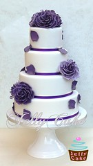 Purple Roses Wedding Cake (www.jellycake.co.uk) Tags: wedding roses cake petals purple cadbury sugar wiltshire jellycake wwwjellycakecouk
