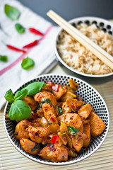 Thai chicken with Basil (wojtek0) Tags: food sunlight chicken daylight yummy healthy chili rice fresh delicious chopsticks basil bowls fishsauce soyasauce brownrice foodphotography thaichicken thaicuisine foodstyling easterncuisine
