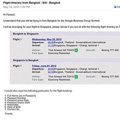 ทีมงาน google จองตั๋วไปสิงค์โปร์ไปประชุม Google Business Group ปลายเดือนให้โดยไม่รู้ตัวมาก่อน เกือบจองเองไปแล้ว cc: @pandypu