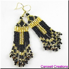 Egyptian Ankh Beaded Dangle Earrings (carosellcreations) Tags: sun black glass gold women cross symbol religion egypt fringe jewelry chandelier egyptian earrings etsy ankh dangle beaded crux amulet pagan afterlife bugle eternallife revival hieroglyphic seedbeads ansata brickstitch keyofthenile carosellcreations