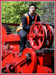 Machinery man (* RICHARD M (Over 9.5 MILLION VIEWS)) Tags: street red candid wheels chinese engineering heavymetal machinery piston dorset specs machines railways swanage cog inscrutable swanagerailway