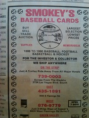 Smokey's Baseball Cards 1990 (frankasu03) Tags: las vegas vintage baseball retro business card strip shops smokeys