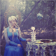 party for alice (Amy Ballinger) Tags: woman fairytale forest mirror alice strawberries teacups teapot enchanted aliceinwonderland oldbooks macaroons stackofcups