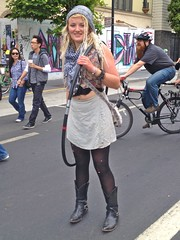 Sunday Streets: Valencia St: Hula Hoop Fashion (Lynn Friedman) Tags: sanfrancisco ca street usa valencia smile hat leather fashion scarf boots tights skirt event blond april mission casual bracelets missiondistrict themission hulahoop 94110 carfree cowboyboots nocars 2013 streetfaire lynnfriedman sundaystreets