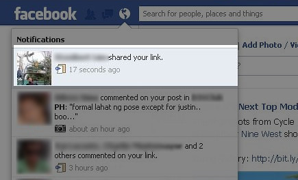 Facebook notifies you when someone shares your content