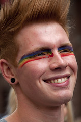A happy face in the crowd (Poupetta) Tags: facepainting parade humanrights youngman liveandletlive afaceinthecrowd equalityforall helsinkipride2012