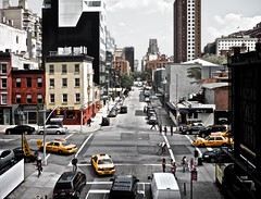 New York City Intersection (jeremywcox) Tags: nyc newyork cars apartments pedestrian intersection crosswalk cabs highline