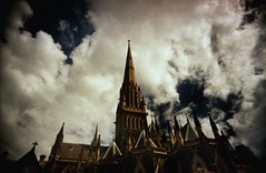 gothic pyramid (mugley) Tags: city roof winter sky urban colour building film church architecture clouds 35mm catholic cathedral kodak religion grain perspective stpatrickscathedral crosses australia melbourne wideangle arches victoria scan christian spire crappycam negative epson 135 vignetting urbanlandscape gothicrevival eastmelbourne c41 22mm albertst v700 cloudage minorbasilica kodakgold400 keystoning gold400 vivitarultrawideandslim wideslim eximus lomophobia eximuswideandslim