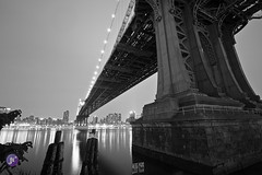 Manhattan bridge-Brooklyn, New York (Blue_gsx) Tags: new york city nyc tower brooklyn night reflections freedom nikon long exposure time dumbo wtc 1635mm d700