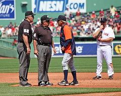 more screaming at umps (Boston Wolverine) Tags: coach baseball watch scream angry tigers argument mad manager yell shout mlb umpire argue highsocks 70300mmf456 kevinyoukilis jimleyland timtschida billwelke