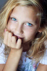 Julia (Mary Oceans) Tags: blue portrait people color girl beautiful beauty smile closeup youth contrast children happy daylight kid nice saturated model eyes child close julia blueeyes joy young headshot glad curly blond gaze tender fairhair saturatedcolors chidhood