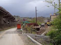 Rail Trail 040912 (8) (CityofMorgantown) Tags: west wall work virginia construction crane rail trail wv morgantown drill retaining pave caperton