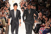 Shinji Kagawa (L) and Anderson Manchester United football players pose on the catwalk during a Hublot Charity Dinner and Fashion Show event in aid of the MU Foundation at Shangri-La Hotel Shanghai, China