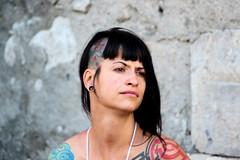 Brianon (Luc Herman) Tags: city summer woman black france alps colors girl face look festival tattoo alpes women colours view medieval piercing traveller ear brianon coloured vauban hautesalpes earhole laftemdivale
