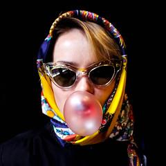 (happyflum) Tags: girl estonia blonde sunglasses headscarf miumiu bubblegum strawberry yellow blue black pink silk seda