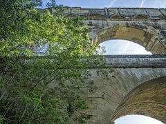 Looking up at the arches of the Pont du Gard near Nimes, France Roman 1st century CE (mharrsch) Tags: arch aqueduct architecture engineering roman bridge unesco pontdugard france ancient mharrsch