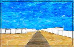 Geschilderd strandzicht (Jan 1147) Tags: alienskinsnapart geschilderdstrandzicht strandzicht beachview beach strand strandcabines lucht wolk wolken wolkenlucht wolkendek schilderij painting outdoor buitenopname knokke belgium sky