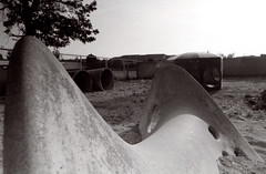 Exa 1C Cucamonga Playground 1 () Tags: vintage retro classic film camera losangeles california riverside history west coast architcture eastgerman ddr gdr exa dresden slr 35mm black white bw kodak tmax m42