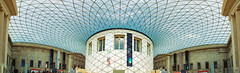 British Museum (Pat Charles) Tags: london england uk unitedkingdom travel tourism architecture interior indoor inside shadows columns panorama stitch nikon museum britishmuseum history artefacts art hall room windows sky cloud pattern grid