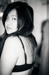 Unintentional (SodanieChea) Tags: lighting light blackandwhite bw woman selfportrait art me face composition hair french photography back eyes vietnamese cambodian dof skin bokeh indian bra chinese naturallight lips depthoffield eurasian spc asiangirl 85mmf18 365days canon5dmarkii