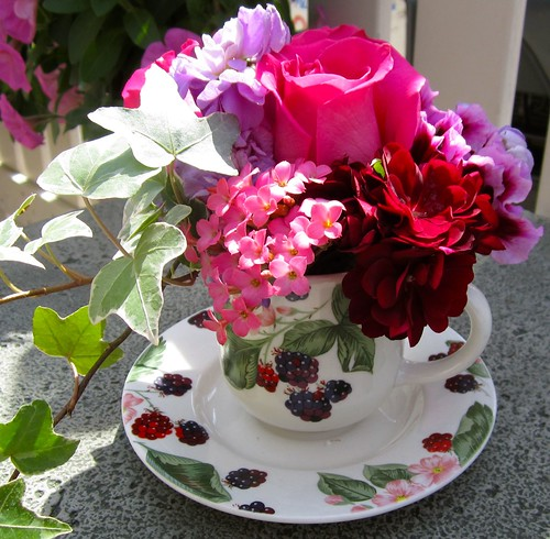 Teacup with Garden Flowers