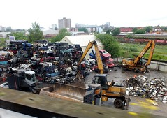Scrap Yard. (steven.barker57) Tags: uk england west car dead jcb lift crane north cube vehicle passenger waste recycle recycling crush scrap magnetic crusher worldcars liverpool08062012