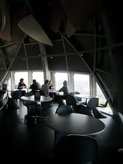 Atomium restaurant (La Citta Vita) Tags: brussels restaurant cafe view belgium modernism landmark structure tables 1958 seating atomium spaceage skybar atthetop
