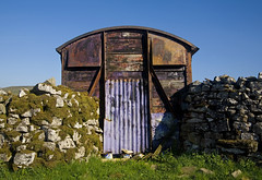 Rural recycling (steverichard) Tags: old england metal wall rural train photo iron carriage image decay yorkshire rusty disused roadside recycling corrugated thwaite dales drystone reuse rustyandcrusty swaledale buttertubs steverichard