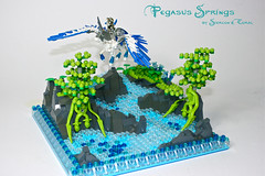 Pegasus Springs (Siercon and Coral) Tags: sea horse castle flying spring wings lego pegasus fantasy knight creature moc avalonia mysticisles siercon
