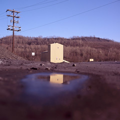 (patrickjoust) Tags: county usa color reflection 120 6x6 tlr film water analog rolleiflex zeiss america square lens puddle reading us reflex focus fuji mechanical pennsylvania telephone united side country north patrick twin pole pa chrome medium format states manual coal expired 80 joust fujichrome e6 f28 220 schuykill planar estados astia 80mm 100f reversal unidos 28f franke anthracite girardville autaut heidecke patrickjoust